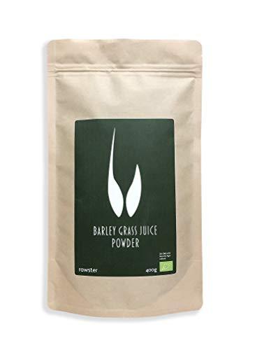 400g Poudre de jus d'herbe d'orge organique - Poudre alcaline 100% soluble de qualité supérieure certifiée - Barley Grass Juice Powder