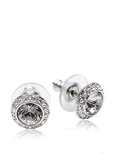Swarovski Women's Angelic Stud Pierced Earrings, Set of White Swarovski Earrings with Rhodium Plating, part of the Swarovski Angelic Collection