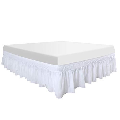 PiccoCasa Bettrock aus Polyester, robust, elastisch, mit Rüschen, langlebig, 3 Stoffseiten, 40,6 cm lang, Weiß