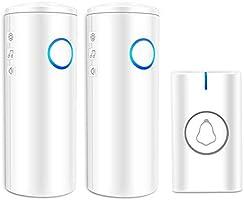 Campanello senza fili, impermeabile, alimentato a batteria, con 5 livelli di volume, 52 campanelli, luce LED, facile da...