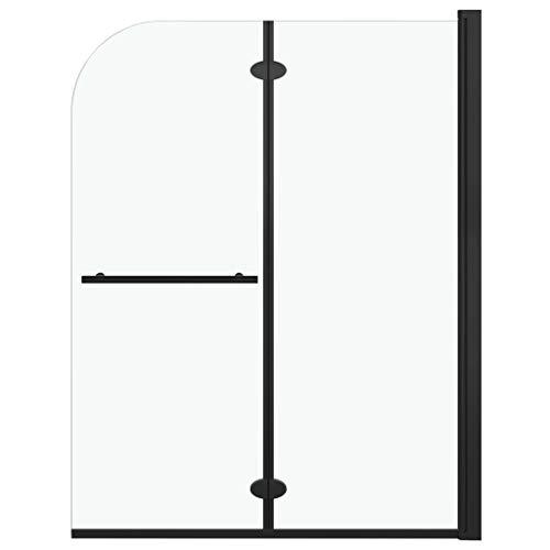 vidaXL Mampara de Ducha Plegable 2 Paneles Puerta Cabina Baño Cerramiento Partición Cubículo Apertura Central Cristal Seguridad ESG Negro 95x140 cm