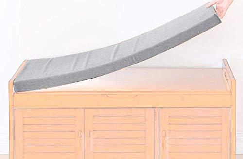 AFFASFSAFS Cojín de banco para exteriores, jardín, columpio de interior para sofá, zapatero, cojín largo, almohadilla extraíble con cremallera para 2 3 plazas (gris claro, 120 x 40 x 5 cm)