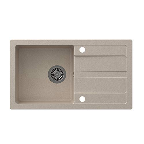 VBChome Spüle 77 x 44 cm Beige Granit Einzelbecken Einbauspüle Abtroffläche gesprenkelt reversibel Verbundspüle + Siphon Spülmittelspender