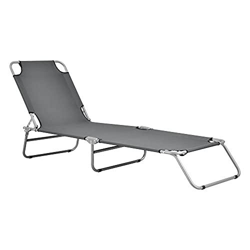 casa.pro Sonnenliege Carcao Gartenliege Strandliege bis 110 kg verstellbar Liege zusammenklappbar Stahlgestell Dunkelgrau