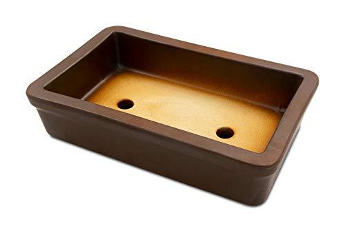 K&K Keramik Bol à bonsaï carré en céramique résistant au gel Marron mat 29 x 18 x 7 cm