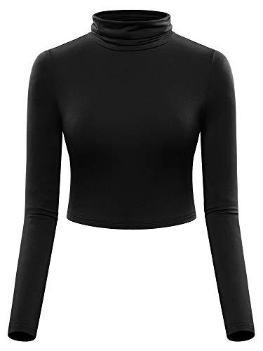 MSBASIC Turtleneck Crop Top Long Sleeve Crop Tops for Women Black M
