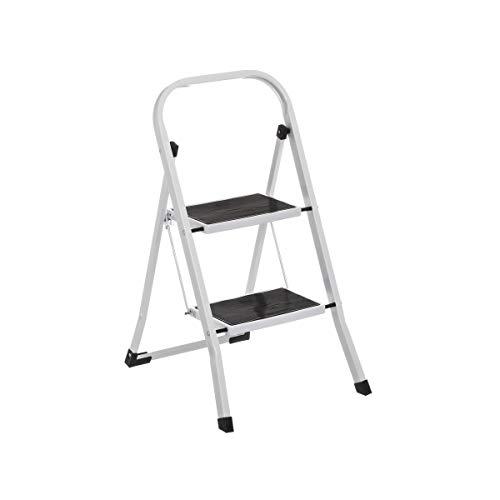 Escalera Plegable Portátil de 2 Peldaños Antideslizante Alanca/Negra de Acero de 82x54x45 cm