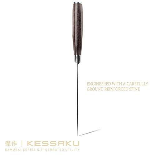 Kessaku Serrated Utility Knife - Samurai Series - Japanese Etched High Carbon Steel, 5.5-Inch