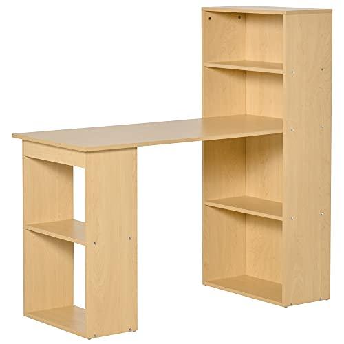 libreria con cassetti homcom Scrivania Computer con Libreria Salvaspazio Porta PC per Ufficio Studio in Legno120x55x120cm