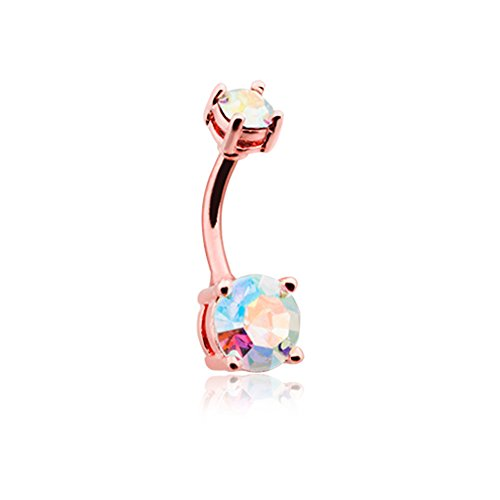 14G Rose Gold Aurora Sparkle Brilliant Gem Prong Inspiration Dezigns Belly Button Ring
