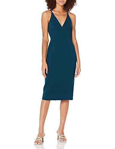 Dress the Population Women's Lyla Plunging Sleeveless Fitted Midi Sheath Dress, Peacock Blue, L