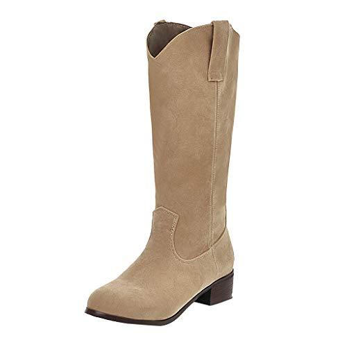 Boots Femme Hiver HLIYY Élégant Mode Femmes Stretch Faux Slim Haute Bottes Boots Talons Chaussures Cuissarde Plate en Effet Daim réversible dotée d'un Bout Rond Bottes Souples