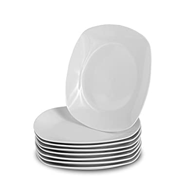 Klikel 8 White Square Salad Plates - 8.3-inch Classic Solid Coupe Style Porcelain Dinnerware