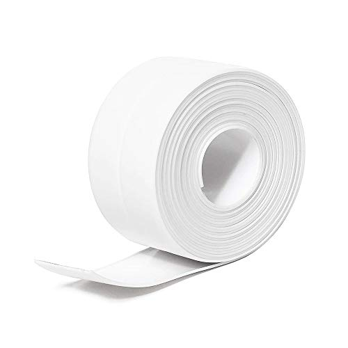 Joint Silicone Blanc Salle de Bain,Funwaretech Ruban d'étanchéité,Bande Etancheite Autocollanteétanche PE pour Baignoire,Douche,Toilettes,Cuisine,Evier,Sol,Mur,Coin de Protection-Blanc