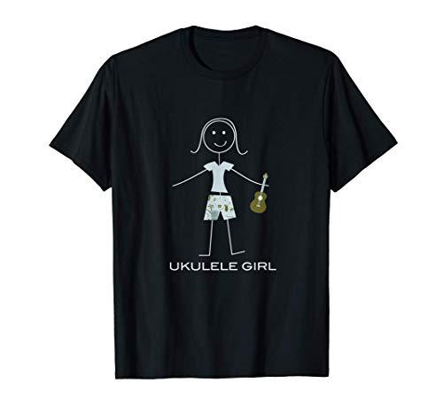 Ukelele de mujer divertida, regalos de músico de niña Camiseta