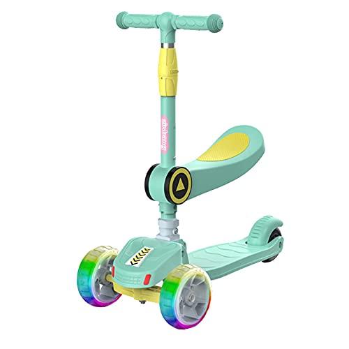 JIANGCJ Patinete 2 en 1 para niños con asiento plegable, altura ajustable y ruedas intermitentes de poliuretano con plataforma extra ancha, apto para niños de 3 a 12 años, color azul