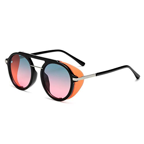 QWKLNRA Gafas De Sol para Hombre Marco Negro Lente Rosa Azul Polarizado Deportes Gafas De Sol Moda Steampunk Gafas De Sol Masculinas Mujeres contra-UV Vintage Punk Gafas De Sol Uv400 Gafas