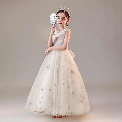 SUNXC para Bebé Niñas Vestido Elegante, Vestido de Novia Princesa Blanco Vestido de Noche-Blanco_160 cm,Vestido Niña Princesa Tutu Disfraz Cumpleaños