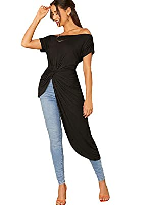 SheIn Women's Elegant Asymmetrical Twist Front Off Shoulder Top Plain High Low Blouse Black Large