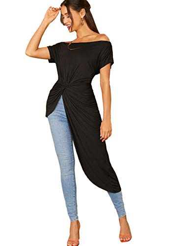 SheIn Women's Elegant Asymmetrical Twist Front Off Shoulder Top Plain High Low Blouse Black Medium