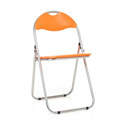 Bravich Orange Padded Folding Chair | Comfortable Seat Office Reception Foldable Desk Chairs Easy Storage Backrest, 43.5 x 46 x 79.5 cm