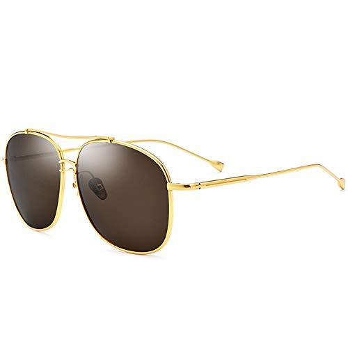 BDwantan Ultraligero De Titanio Puro Gafas De Sol Conductor Masculino Gafas De Conducción Gafas De Sol Cuadradas Polarizadas Marco Dorado Femenino Lente Marrón Protección UV400