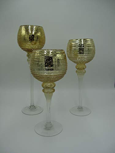 Werner Voss 3-delige Glazen bol windlicht set H40/35/30 cm met gouden kelk op voet kandelaar kandelaar kandelaar kandelaar
