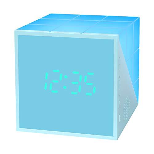 Kinderwecker Jungen LED Kinderwecker Digitaler Kinder wecker Cube Wake Up Kinderwecker Creative Nachttischlampe Snooze-Funktion zeitgesteuertes Nachtlicht Kindertagesgeschenk Lichtwecker (Blau)