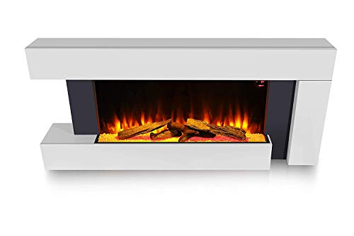 HomeZone Modern Unique 55' White Wall Mounted Electric Fireplace Realistic LED Flame Effect Electric Fire with Wood Log Burner. 220/240V 1000/2000W 7 Day 24hr Timer and Remote Control.