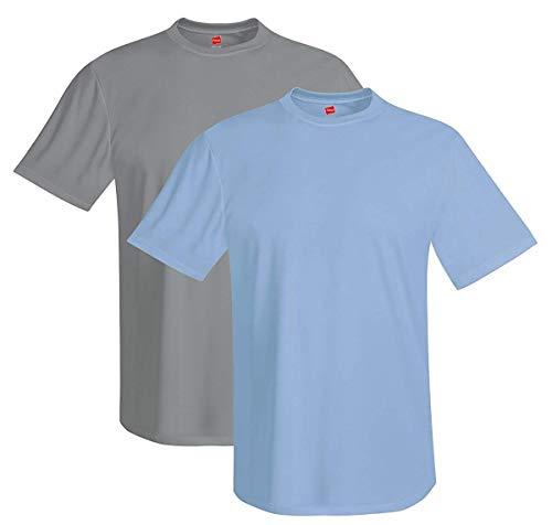 Hanes Mens 4 oz. Cool Dri T-Shirt(4820)-Graphite/Light Blue-XL