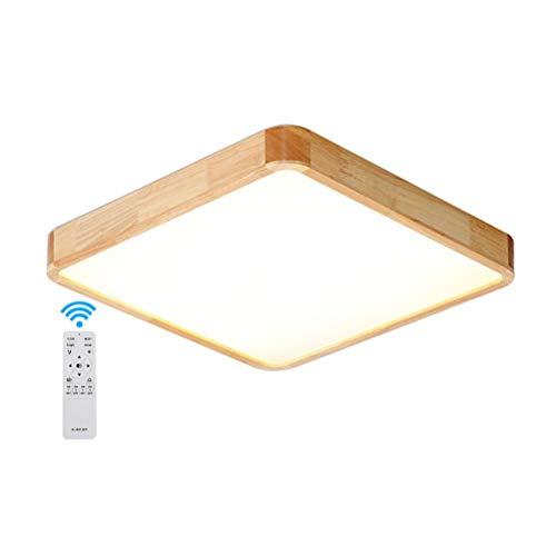 GaoHX LED Lámpara de Techo Moderna Madera Plafon Techo de Led 36W Cuadrado para Techo Regulable 3000-6000K Ceiling Light para Habitacion Cocina Sala de Estar Dormitorio Pasillo Comedor, 50 * 50 * 5cm