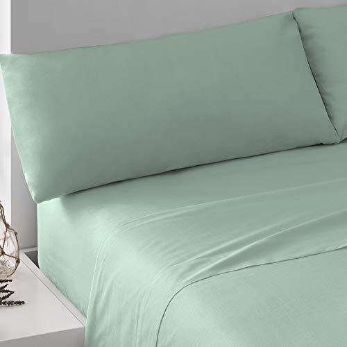 PimpamTex – Juego de Sábanas 100% Algodón para Cama – (Cama 180, Verde Tiffany)