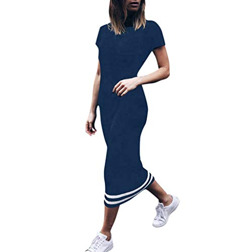 B-COMMERCE Women Fall Casual Long Dress Short-Sleeved Striped mid-Calf Party Wedding Guest Dress