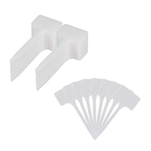 Relaxdays étiquettes à planter en lot de 100, à inscrire, parterre et pousses, H x L 14,5x5,5 cm, Plastique, blanc