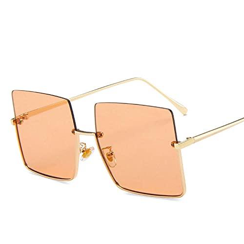 YHKF Gafas De Sol Semi Sin Montura De Metal para Mujer Gafas De Sol Cuadradas De Gran Tamaño Retro para Hombre Moda con Montura De Medio Metal Streetwear Eyewear-Gold-Champagne
