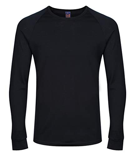 Photo of Brass Monkeys – Men's Long Sleeve Base Layer – 100% Merino Wool – Made in New Zealand – Thermal Underwear – Black – Medium