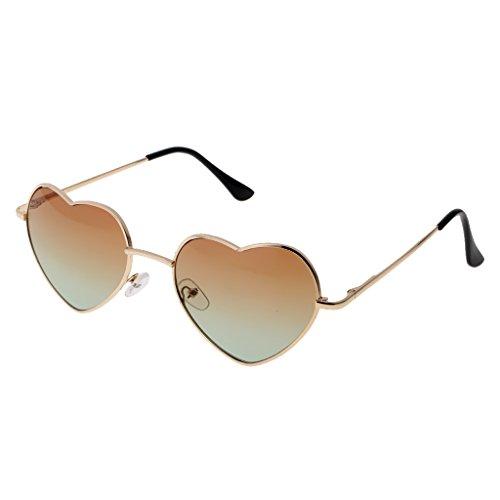 N\C Gafas de Sol de Espejo de Marco de Borde de de Metal de Moda Gafas de Lentes de Gradiente - Verde tostado