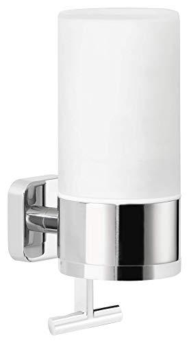 tesa ELEGAANT Design-Seifenspender (230ml), inkl. Klebelösung, elegantes Design, Metall, verchromt, rostfrei, 192mm x 73mm x 115mm
