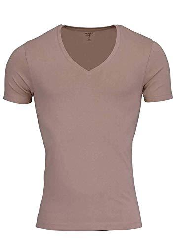 OLYMP T-Shirt Level Five Body fit tiefer V-Ausschnitt beige Größe L