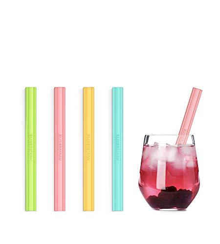 SLIDERSTRAW - Silico kurz - NEU Patentiert: Reinigung ohne Bürste! Silikon - wiederverwendbare Strohhalme/Mehrweg Trinkhalme für Kinder, Feiern & Party und heiße Getränke wie Kaffee/Tee (bunt)