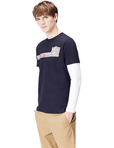 Marca Amazon - find. Camiseta de Manga Larga con Estampado para Hombre, Azul (Insignia Blue 001), M, Label: M