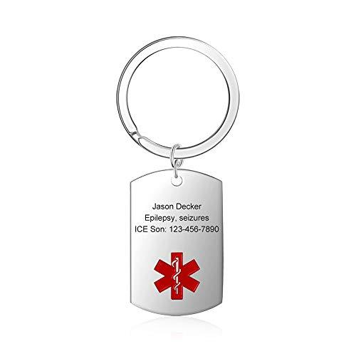 Grand Made Llavero Personalizado de Etiqueta de Emergencia médica para Hombres Mujeres Etiqueta de información de ID de Alarma Llavero Life SOS Tipo de Diabetes Marcapasos (Silver)