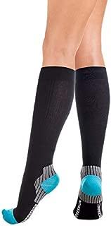 Calcetines de compresión médicos de rodilla con la parte que sostiene el tendón de Aquiles UNISEX con fuerza de compresión de algodón 18-22 mmHg Negro-Azul Small