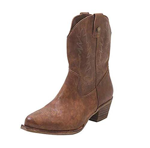 XLBHSH Western-Cowboy-Stiefel Spitze Stiefeletten Leder Gestickte Reitstiefel Für Damen,01,41