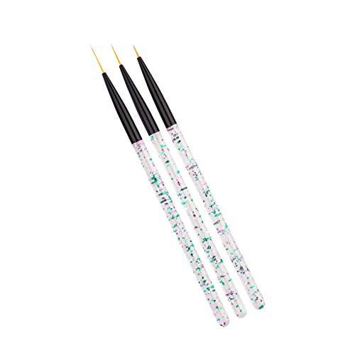SM SunniMix 3pieces Pinceaux Peinture Professionnels Détail Stylo Pour Acrylique Huile Aquarelle Nail Art Brosse Ongles Naturels Acrylique Faux Ongles