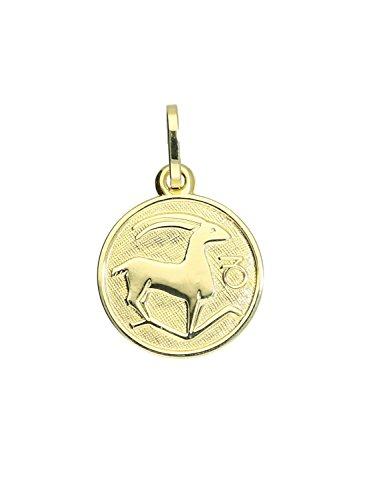 MyGold Sternzeichen Anhänger Steinbock (Ohne Kette) Gelbgold 333 Gold (8 Karat) Klein Ø 12mm Rund Tierkreiszeichen Horoskop Goldkette Halskette Kettenanhänger Geschenk Zodiac round A-06017-G303-Ste