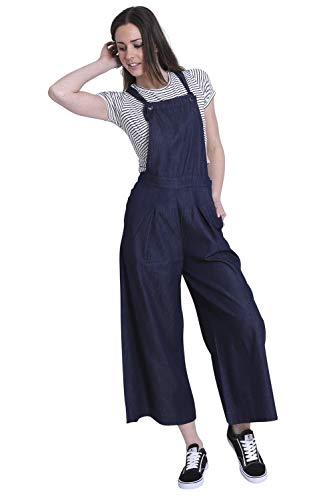 Wash Clothing Company damesbroekrok met wijde pijpen - indigoblauw bib culottes bluebellindigo