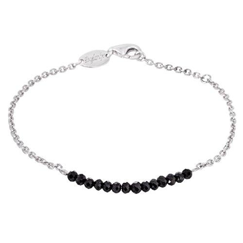 Engelsrufer Black Spinel Armband für Damen rhodiniertes 925er-Sterlingsilber Länge 16 cm + 2 cm