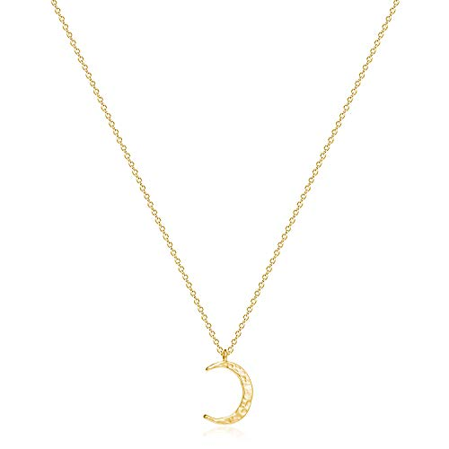 Fettero Crescent Moon Necklace Gold Half Moon Phase Hammered Pendant Dainty Chain 14K Gold Plated Minimalist Simple Boho for Women Jewelry Mother's Gift