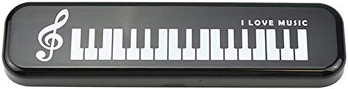 Estuche de Lápices Plástico Piano Teclado Regalos de música para lápices Bolsas pequeñas para lápices Estudiante Kawaii Nota musical Oficina Escuela de papel (Color: Blanco)-Negro